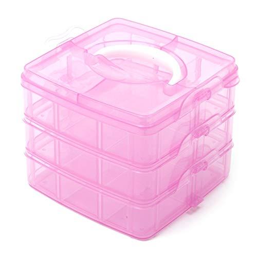 Ndier 3 Nivel de Color Rosa Ajustable Ranura 18 Compartimiento de plástico Craft Caja de Almacenamiento de Herramientas de joyería pequeño envase
