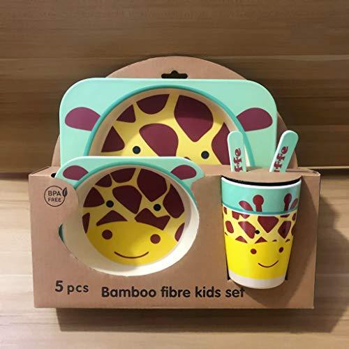 Couverts pour enfants en fibre de bambou Set de bande dessinée créative de grille plaque cuillère cuillère tasse Cinq pièces ensemble équilibre bébé régime de sécurité et de protection, Girafe