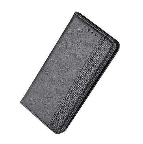 HAOYE Funda para Xiaomi Mi Note 10, Cuero Retro Cover, Piel PU Suave Flip Folio Caja Soporte Plegable Funda Cáscara, Wallet Case con Ranuras para Tarjetas, Negro