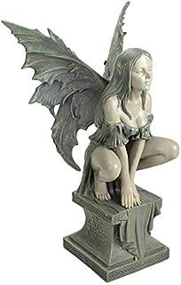 Design Toscano CL5047 Celtic Fairy's Perilous Perch Outdoor Garden Statue, Large, 19 Inch, Two Tone Stone