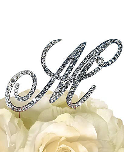 "Victorian Collection Monogram Rhinestone Cake Topper - Large - Silver (4.75"" Tall) (Letter M)"