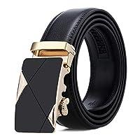 ベルト メンズ メンズワイルドビジネス自動バックル両面ベルトベルトズボン革バックルベルト ビジネス カジュアル (色 : Black, Size : 130cm)