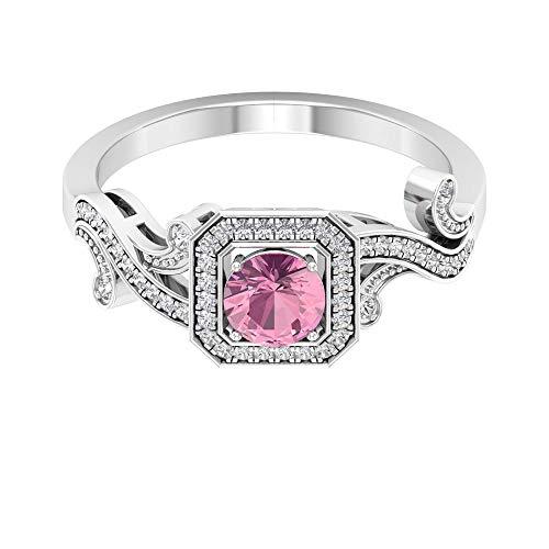 Anillo grabado con cuentas de turmalina de 1/2 ct certificado, anillo de boda con halo de diamante, anillo único de piedra preciosa, declaración para mujer, 14K Oro