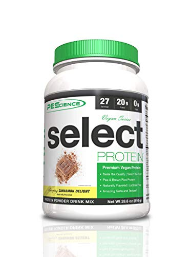 PEScience Select Vegan Plant Based Protein Powder, Cinnamon Delight, 27 Serving, Pea and Brown Rice Blend