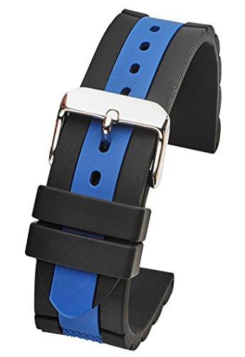 ALPINE Silicone sporty heavy duty watch band - Black/ Blue - 22mm