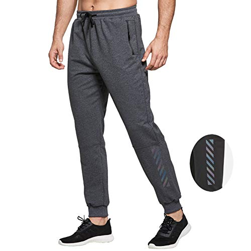 JustSun Jogginghose Herren Trainingshose Sporthose Herren Lang Baumwolle Fitness Hosen Jogger Herren Reissverschluss Taschen Grau XL