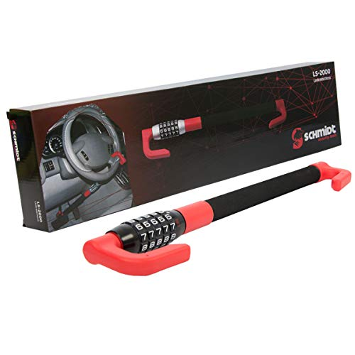 SCHMIDT security tools Pedal-Lenkradschloss LS-2000 49,5-78cm Auto KFZ PKW LKW Diebstahlsicherung Pedalschloss Wegfahrsperre Lenkradsicherung mit Zahlenschloss