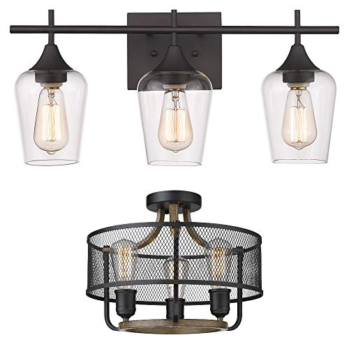 Osimir 3-Light Bathroom Vanity Light Fixtures ( WL9167-3A ), Flush Mount Ceiling Light (RE9166-3)