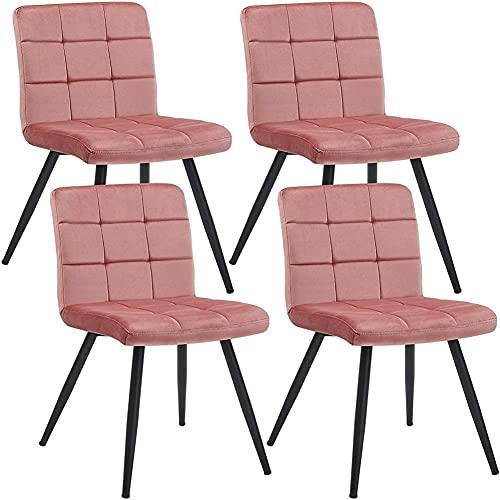 Sillas de recepción tapizadas de terciopelo, sillas de comedor, sillas de salón con patas de metal, para sala de estar, cocina, vano, juego de 4 unidades, color rosa