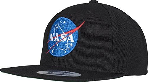 Mister Tee NASA Snapback Cap - Unisex Kappe in Schwarz für Herren und Damen mit hochwertigem Logo Stick