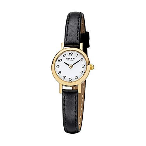 Regent Damen-Armbanduhr Elegant Analog Leder-Armband schwarz Quarz-Uhr URF980