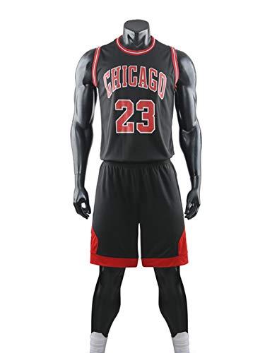 Wo nice Traje De Uniforme De Baloncesto para Niños, Chicago Bulls # 23 Michael Jordan NBA Basketball Jersey Suelta Camiseta Transpirable Camiseta Chaqueta De Verano + Pantalones Cortos,Negro