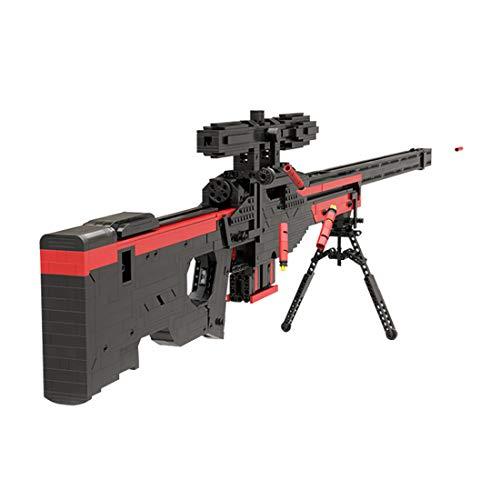 Ditzz Technik Bausteine Scharfschützengewehr, Gewehr Waffen Modell Bausatz mit Schußfunktion, 1750+ Teiliges Konstruktionsspielzeug Kompatibel mit Lego