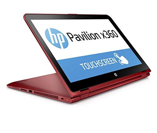 HP Pavilion x360 (15-bk103ng) 39,6 cm (15,6 Zoll / FHD IPS Touchscreen) Convertible Laptop (2 in 1 Laptop, Intel Core i5-7200U, 8 GB RAM, 1 TB HDD, Intel HD-Grafikkarte 620, Windows 10 Home), rot
