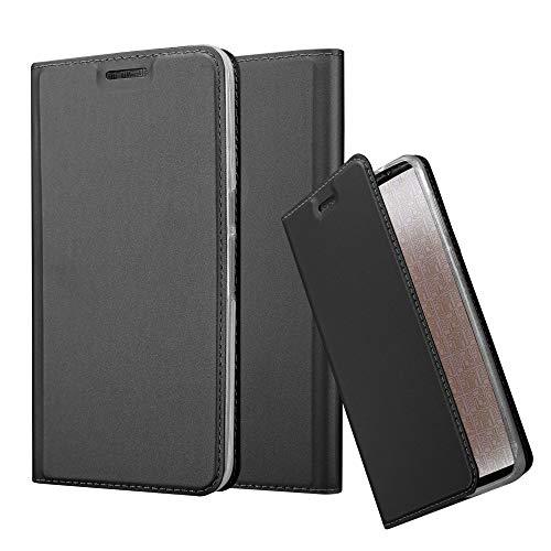 Cadorabo Hülle für Huawei Nexus 6P - Hülle in SCHWARZ – Handyhülle mit Standfunktion & Kartenfach im Metallic Erscheinungsbild - Case Cover Schutzhülle Etui Tasche Book Klapp Style