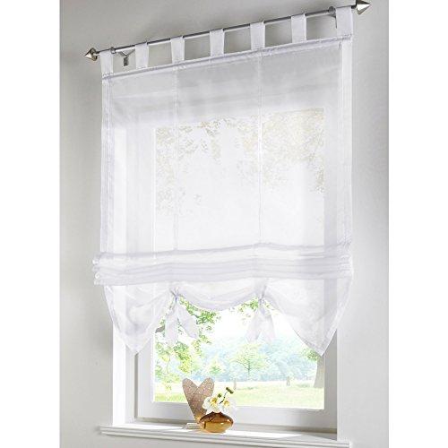 KOU-DECO Raffrollo Schlaufen Gardinen Voile Transparent Vorhänge 1er-Pack Vorhang (B*H 120*155cm, Weiß)