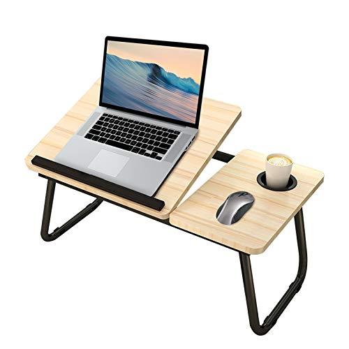 Geahod Höhenverstellbarer Laptoptisch, Verstellbarer Betttisch für Laptop, Klappbarer Kippbarer Notebooktisch, Faltbarer Lapdesk aus Holz für Bett, Sofa 55 x 32 x 25 cm