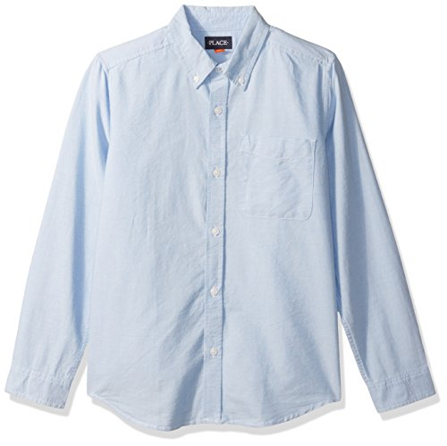 The Children's Place Big Boys' Long Sleeve Uniform Oxford Shirt, LTBLUOXFRD 5063, X-Large/14