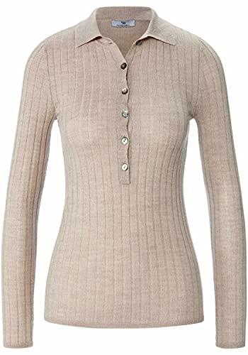 PETER HAHN Pullover polo, in 100% lana vergine con colletto polo da donna, Tortora chiaro melange, 46