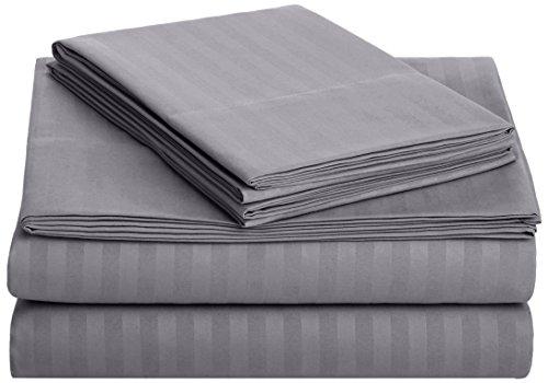 Amazon Basics Deluxe Microfiber Striped Sheet Set, Dark Grey, King
