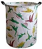 KUNRO Large Sized Storage Basket Waterproof Coating Organizer Bin Laundry Hamper for Nursery Clothes Toys (Dinosaur)