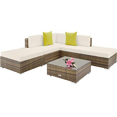 TecTake 800888 Conjunto ratán para la terraza, Tresillo para el Patio, Muebles de ratán sintético para Exterior, Mobiliario de jardín (Natural)