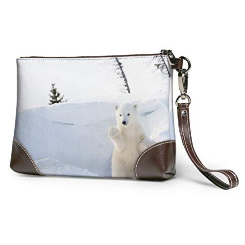 Bolso de mano de cuero suave impermeable suave Animal fresco Oso Polar blanco bolsos de mano con cremallera para mujeres y niñas