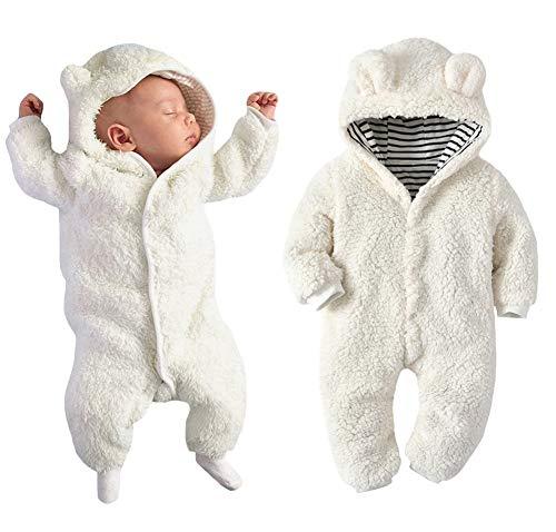 Newborn Baby Boy Girl Bear Ear Hoodie Romper Stripe Winter Fleece Warm Jumpsuit White