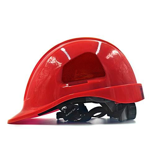WYNZYSLBD Casco De Seguridad En La Construcción, Casco De Trabajo Unisex Seguro Y Ventilado De 8 Colores - Manga Guía, Fuente De Alimentación, Arquitecto, Escalera, Ingeniero (Color : Red) ⭐
