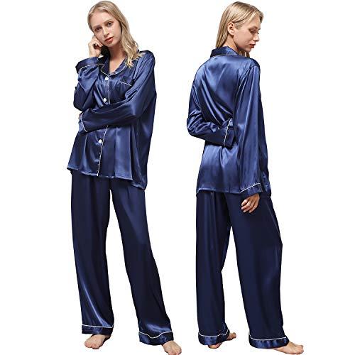 Ladieshow Pijamas Satén para Mujer, Pijamas Set Mujer Manga Larga Elegante y Moda, Largo Conjunto de Pijamas Camisón Seda para Mujer, 2 Piezas Ropa de Dormir con Botones Suave (Azul Marino, M)