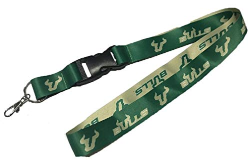 PSG University of South Florida USF Bulls Premium Lanyard with Detachable Buckle, 23 inches Long, 1 inch Wide