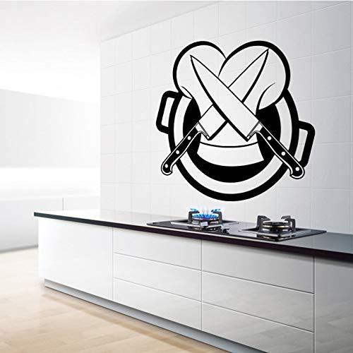 Gran oferta cuchillo extraíble pegatina de cocina decoración del hogar mural pegatina de pared papel tapiz gourmet chef decoración A2 43x45 cm
