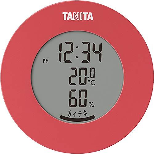 タニタ 温湿度計 温度 湿度 デジタル 時計付き 卓上 マグネット ピンク TT-585 PK