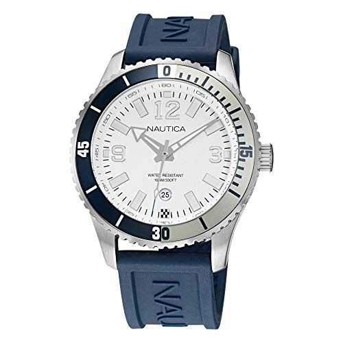 Nautica Men's Stainless Steel Quartz Silicone Strap, Blue, 22 Casual Watch (Model: NAPPBS163)