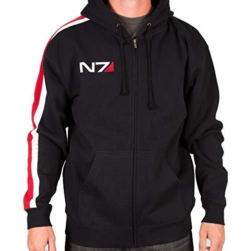 Spazeup Men's N7 Jacket Mass 3 Commander Shepard Costume Cosplay Black Biker Faux Leather Jacket