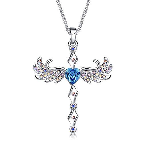 MEGA CREATIVE JEWELRY Damen Kette Engelsflügel mit Blau Herz Anhänger Halskette mit Kristallen von Swarovski