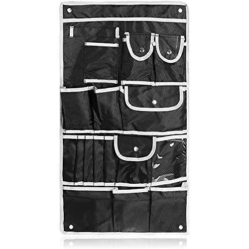 com-four® Almacenamiento Colgante - Práctico Organizador Colgante - Estantería Colgante para Tienda de campaña, Caravana, baño, habitación Infantil (01 Pieza - Negro/Gris)