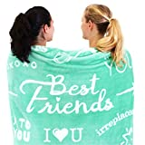 Best Friend Blanket - Super Soft Fleece Throw | Best Friend Birthday Gifts for Women and Friendship Gifts for Teen Girls, BFF, or Sister | A Caring Long Distance Present - 50' x 65' (Teal)