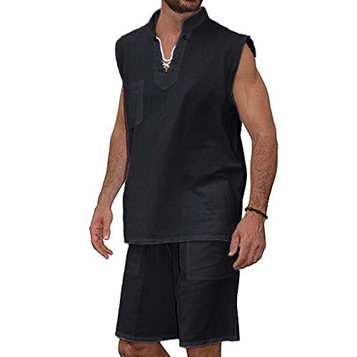 Men 2 Piece Outfits,Summer Beachwear Outfits Set Cotton Hippie Shirt V-Neck Drawstring Shorts Set Sport Gym Tracksuit 3XL (Black, L)