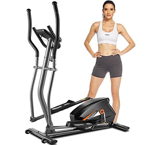 HIROLLOP Crosstrainer Für Zuhause, Ellipsentrainer mit APP-Steuerung,10-Stufen-Magnetwiderstand, LCD-Monitor, Herzfrequenzsensor,180 kg Max. Belastung