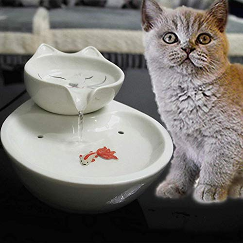 DX Cat waterdispenser keramische huisdier toilet automatische circulatie water stromende fontein wastafel (grootte: beer)