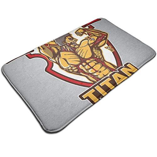 HUTTGIGH - Alfombrilla antideslizante para puerta de entrada de titán Titan Gym Attack On Titan - Alfombrilla de baño de cocina (19,5 x 31,5 pulgadas)