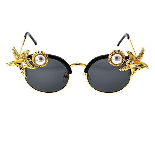 XINMAN Trendy Birds Estrella De Cinco Puntas Parasol Espejo Cristal Diamante Perla Gafas De Sol Moda para Mujer Gafas De Sol De Calle