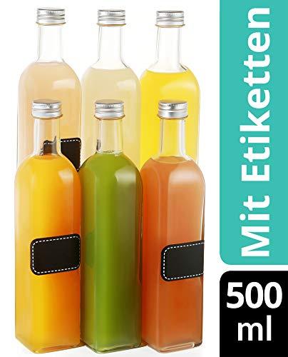 6 Glasflaschen mit Schraubverschluss 500ml Eckig - 6 Etiketten mit Stift - Leere Flaschen