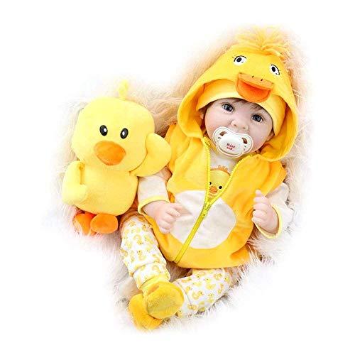 POHOVE Reborn Baby Puppen 22 Inch Realistische Neugeborenes Lebensechte Weiche Silikon Puppen, Gewichtet Mädchen Mit Gelb Kleidung Und Ente Spielzeug Zubehör Geburtstag Set Für - Wie Bild Show, 22inch