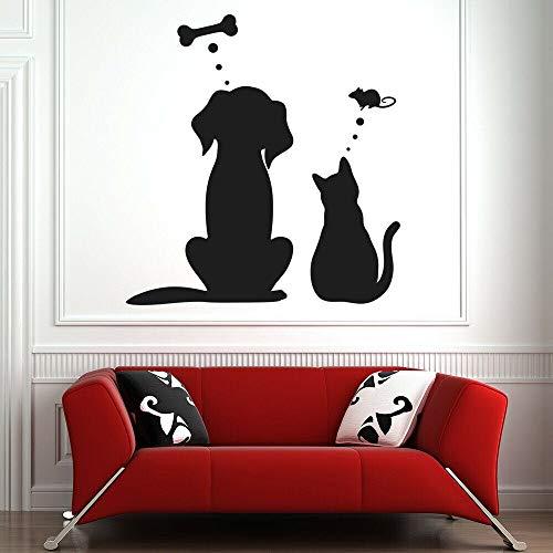 tong99 grappige stickers huisdier dromen levensmiddelen wandtattoo hond kat salon deur sticker S lijm moderne botten ratte huis kamerdecoratie 42 * 44 cm
