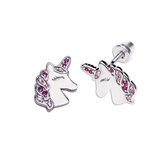 Girl's Sterling Silver Unicorn Earrings with Screw Backs and Pink Sparkling CZs
