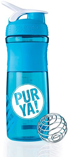 PUR YA! Protein Shaker - 760 ml - mit Blender-Ball - Sportmixer (Aqua/White)