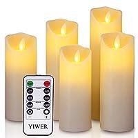 ✔ ELENCO PACCHETTO - 5 candela Flameless (dimensioni: Φ 5.5CM x H 12CM/15CM/17CM/20CM/22CM), 1 telecomando, 1 manuale d'uso. Le batterie non sono incluse. ✔ SICUREZZA E NESSUN RISCHIO DI INCENDIO - La candela può essere usata in camere, salotti, stuf...