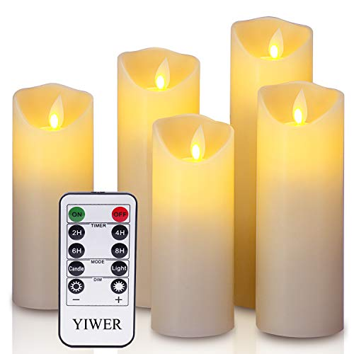 LED candles,5.5'/6'/6.5'/7'/8'Set of 5 Real Wax Battery Flameless Candles Include Realistic Dancing LED Flames and 10-key Remote Control with 2/4/6/8-hours Timer Function,300+ Hours-YIWER (5x1,Ivory)
